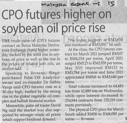 SAWIT: CPO FUTURES HIGHER ON SOYBEAN OIL PRICE RISE